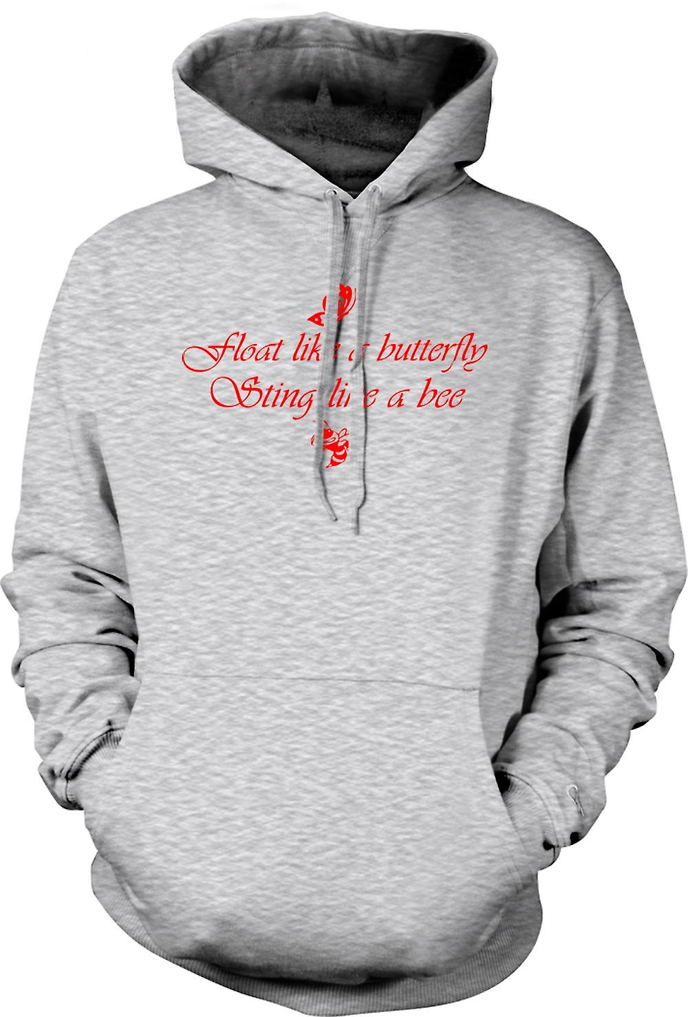 Mens Hoodie - Float Like A Butterfly Sting Like A Bee