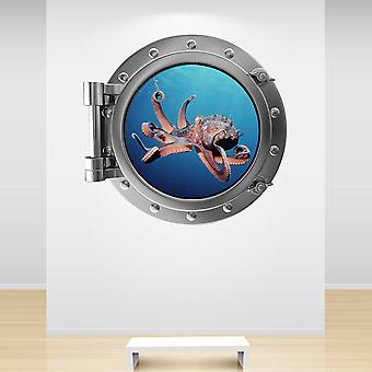 Full Colour Octopus Porthole Wall Sticker