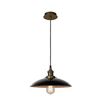 Lucide Bistro Vintage Round Metal Black And Brass Pendant Light