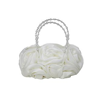 Ivory Satin Ruffle Rose Flower Girls Handbag