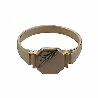 9 قيراط الذهب محفورة السيدات 7x8mm خاتم الخاتم مثمنة حجم L