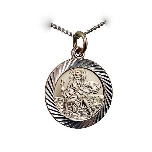 1/20th 14ct yellow gold on Silver 21mm round diamond cut edge St Christopher Pendant with a silver curb Chain 20 inches