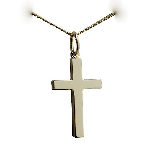 18ct Gold 20x13mm plain solid block Cross with a curb Chain 16 inches Only Suitable for Children