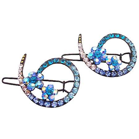Bridesmaid Blue Hair Accessories Inexpensive Affordable Crystals Clip