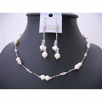 Clear Crystal And White Freshwater Pearl Choker Necklace Set Bridemaides Wire Necklace Set w/ Dangling Earrings