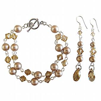 Prom smycken bröllop blomma flicka Champagne pärlor armband örhänge som