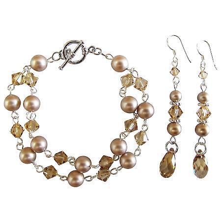 Prom Jewelry Wedding Flower Girl Champagne Pearls Bracelet Earring Set