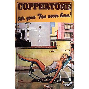 Coppertone Lets Your Tan Never Burn embossed steel sign 300mm x 200mm (hi)