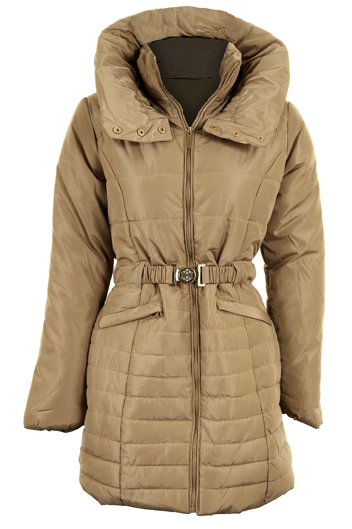 Ladies Quilted Padded Belted Puffer Black Beige Women's Winter Jacket Coat