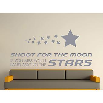 Shoot For The Moon Wall Art Sticker - Silver