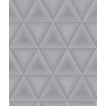 Grandeco Elune Grey Silver Paste Wall Vinyl Triangle Pattern Geometric Wallpaper