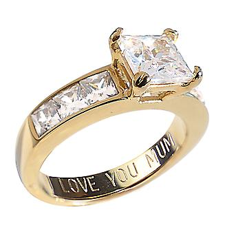 Ah! Jewellery 'I Love You Mum' Engraving Gold Electroplated Steel Princess Cut Ring