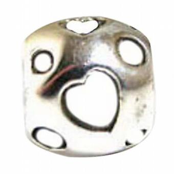 TOC BEADZ White Enamel Heart 9mm Funky Bead