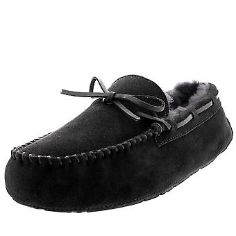 Mens Moccasin Real Sheepskin Australian Genuine Fur Lined Loafer Slipper UK 6-14
