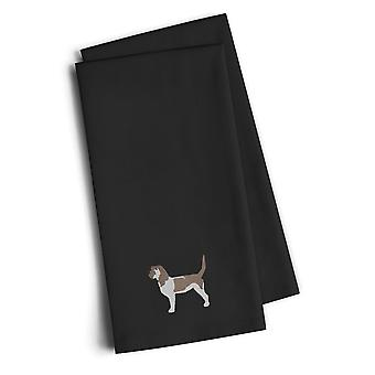 Grand Basset Griffon Vendeen Black Embroidered Kitchen Towel Set of 2