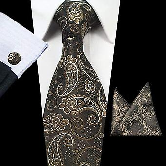 Brown & bronze paisley tie cuff link & pocket square