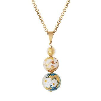 Eternal Collection Tuscany Aqua And Gold Venetian Murano Glass Pendant