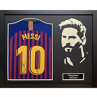Barcelona Messi Signed Shirt Silhouette