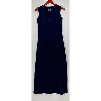 Denim & Co. Petite Dress XXS Essentials Sleeveless Henley Navy Blue A307441