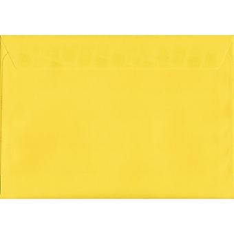 Banana Yellow Peel/Seal C5/A5 Coloured Yellow Envelopes. 120gsm Luxury FSC Certified Paper. 162mm x 229mm. Wallet Style Envelope.