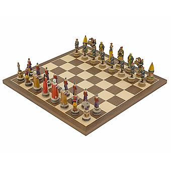 The Hungarians vs Turkish Hand painted themed Chess set by Italfama