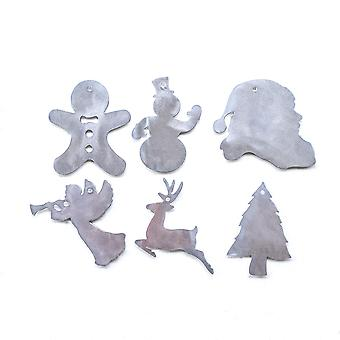 Christmas - set of 6 metal cut ornaments 4x4in