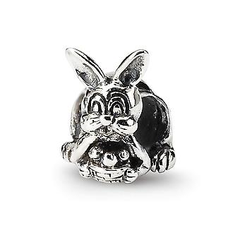 925 Sterling Argent Poli Antique finition Reflections Bunny With Basket Bead Charm