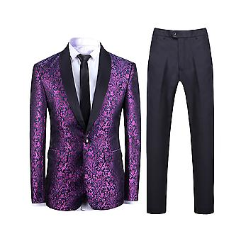Allthemen Men's 2-Piece Suits Purple Jacquard Slim Fit Wedding Blazer&Pants