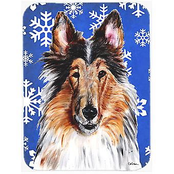 Collie Winter Snowflakes Glass Cutting Board Large Size SC9766LCB