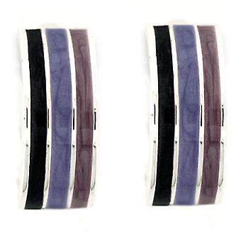 Clip On Earrings Store Triple Row Purple Tone Enamel Semi Hoop Clip On Earrings