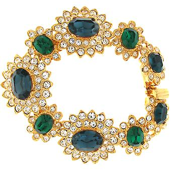Kenneth Jay Lane Crystal Large Emerald and Sapphire Stones Bracelet