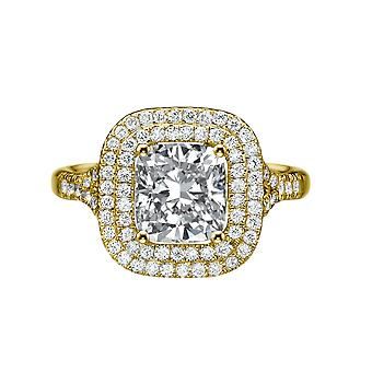 14K Yellow Gold 2.40 CTW 7.00MM Moissanite Forever One Engagement Ring with Diamonds Pave Halo