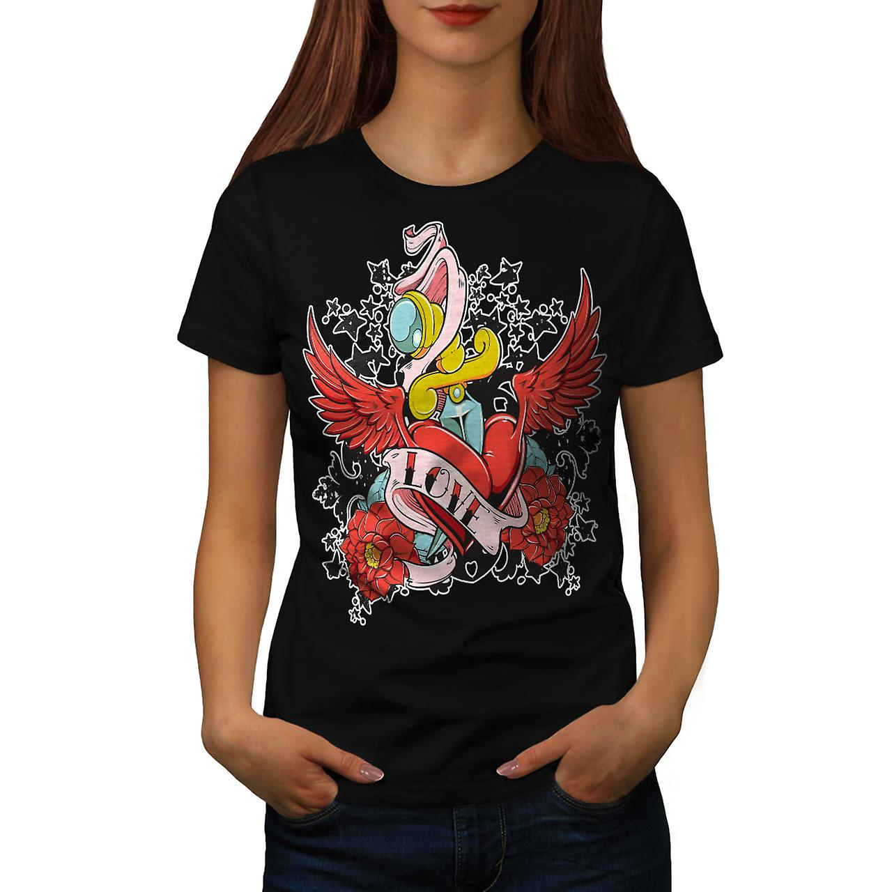 Love Heart Hurts Life Rose Wing Women Black T-shirt | Wellcoda