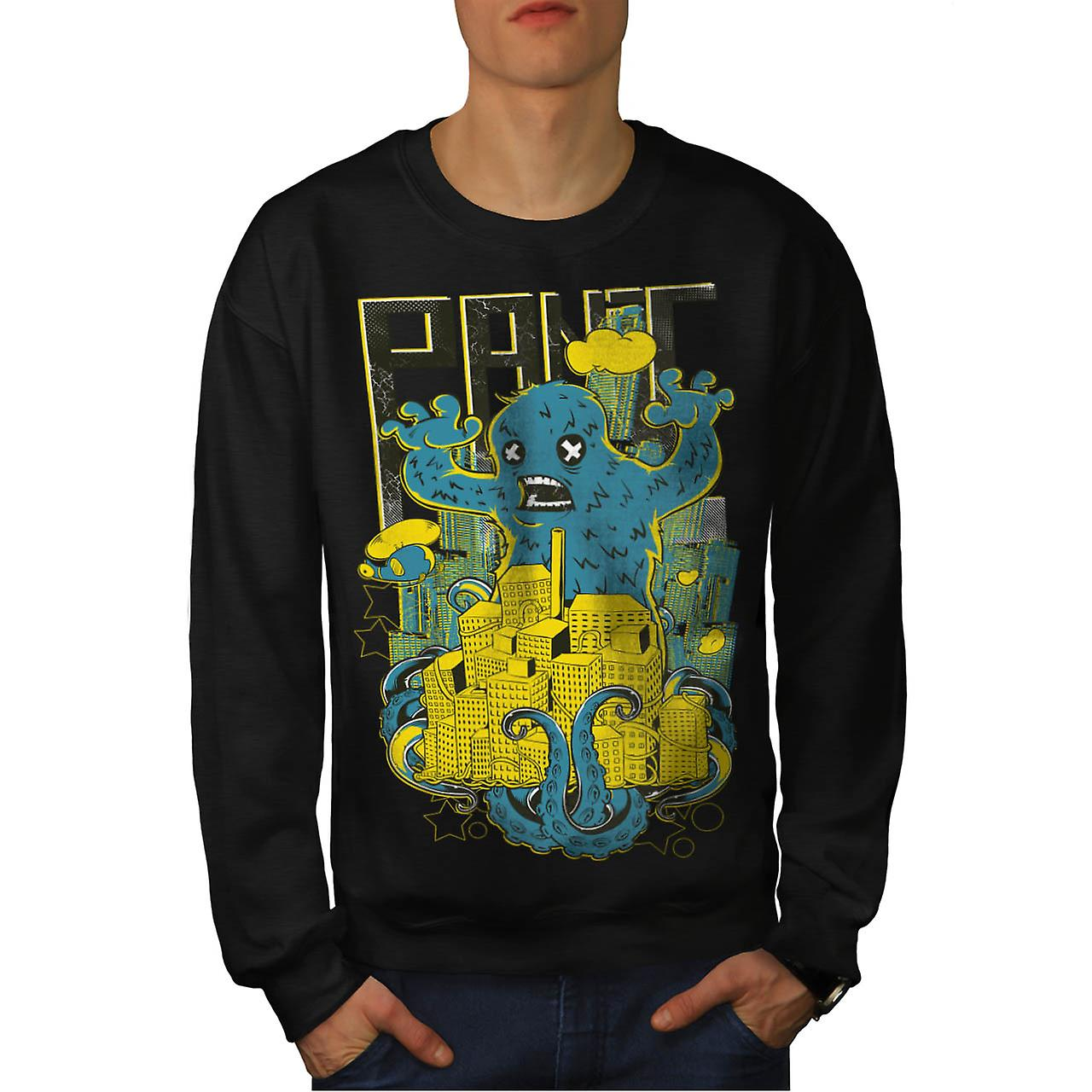 Panic Monster City Horror Men Black Sweatshirt | Wellcoda