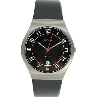 Bering mens watch wristwatch slim classic - 11937-402 leather