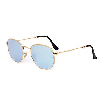 Ray-Ban Gold Metal Hexagonal Framed Mirrored Sunglasses