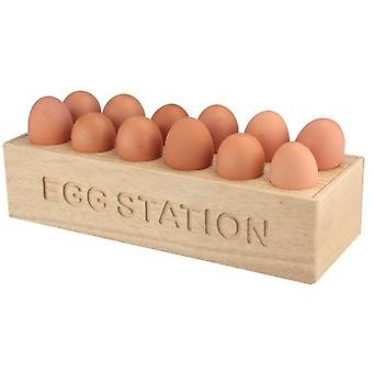 Natural Hevea Wood 12 Egg Stroage Holder Tray Station Kitchen Home
