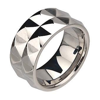 Inox stainless steel ring - 2 STUDDED ROWS