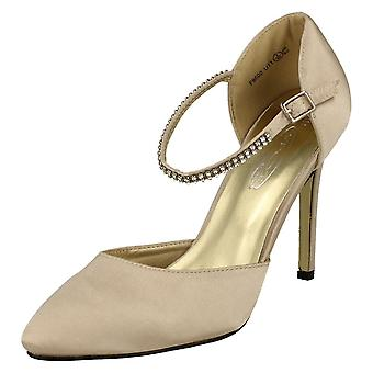 Ladies Anne Michelle Party Shoe With Diamante Ankle Strap