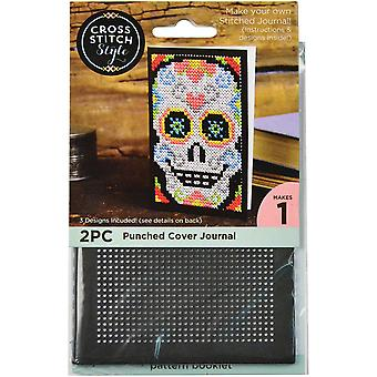 Journal Cover Punched For Cross Stitch-Black 60044
