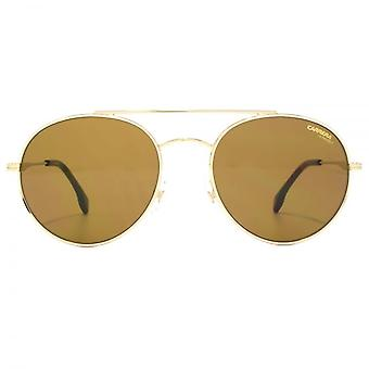 Carrera 131 Metal Round Sunglasses In Gold Havana Brown