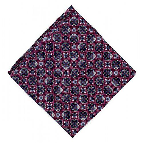 Michelsons of London Bold Medallion Silk Pocket Square - Pink