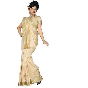 Gouden Art Silk Saree Sari stof India gouden rand