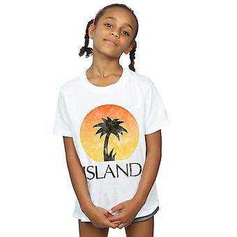 Island Records Mädchen Distressed Logo T-Shirt