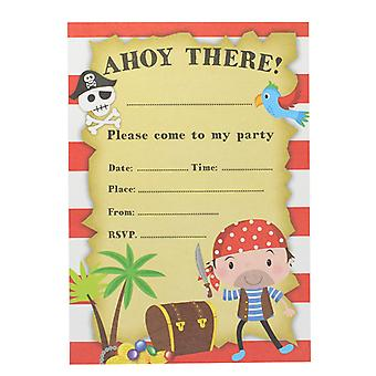 Children's Birthday Party Pack Of 8 Pirate Party Invitations