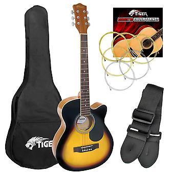 Tiger Acoustic Guitar Pack for Students - Sunburst