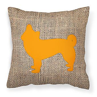 Chihuahua Burlap and Orange   Canvas Fabric Decorative Pillow BB1068
