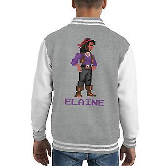 Elaine Marley Pixel Character Monkey Island Kid's Varsity Jacket