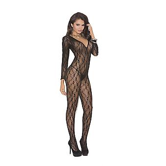 Elegant Moments EM-1619 Deep V long sleeve Bodystocking with open crotch