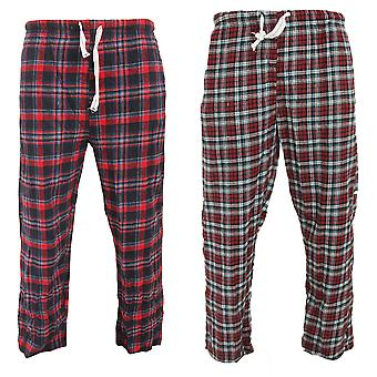 Cargo Bay Mens Tartan Elasticated Lounge Pants (Pack Of 2)